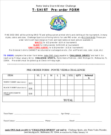 T Shirt Order Form Sample   Examples In Word Pdf