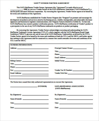 sample vendor partnership agreement