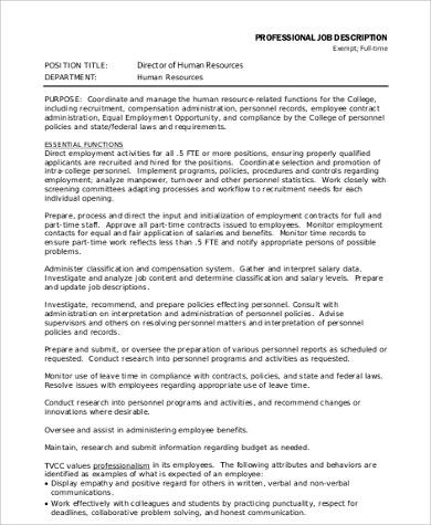 human resources director job description