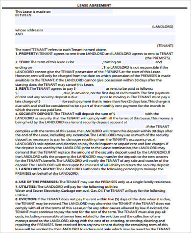 10+ Sample Lease Agreement - Free Sample, Example, Format Download