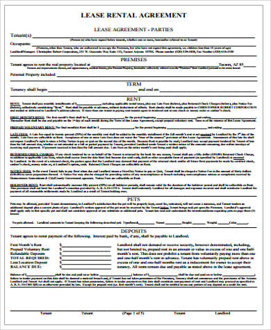 lease rental agreement sample1