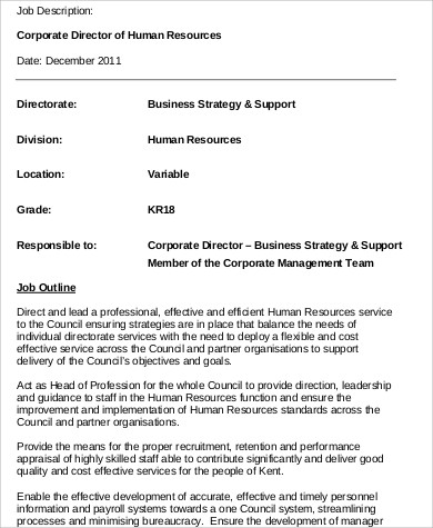 Human Resources Director Job Description Sample   Examples In