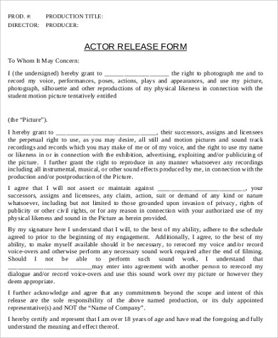Actor Release Form | 7 Actor Release Form Sample 8 Examples In Word Pdf