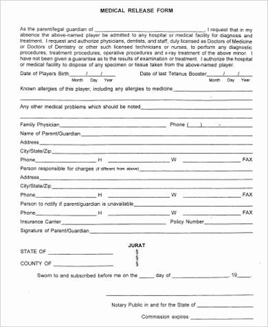 simple medical release form