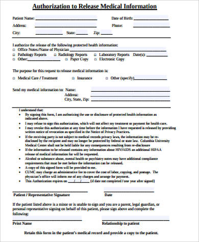 Medical Release Form Sample  Free Sample Example Format Download