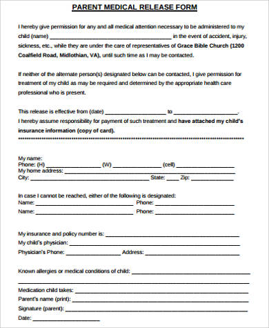 parent medical release form