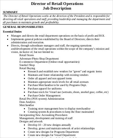Operations Director Job Description Sample   Examples In Word Pdf