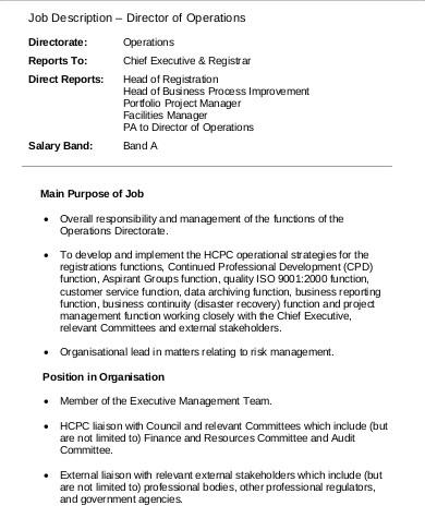 Operations Manager Job Descriptions Free Resume Templates