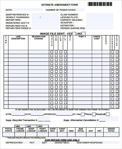 estimate amendment form