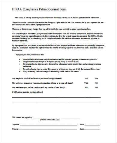 hipaa consent form sample 8  HIPAA Consent Form Samples | Sample Templates