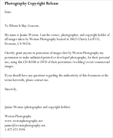 Photo Copyright Release Form Sample - 8+ Examples In Word, Pdf