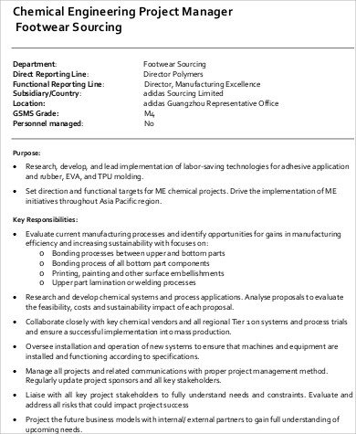 chemical engineering project manager job description