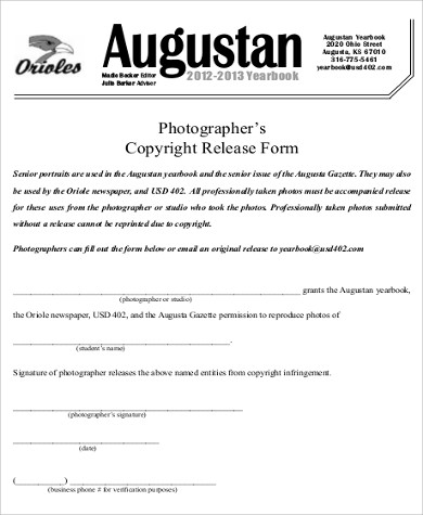 Photo Copyright Release Form Sample   Examples In Word Pdf