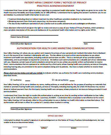 patient hipaa consent form example