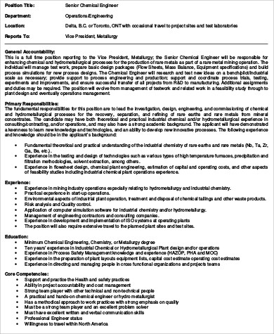 Chemical Engineering Job Description Sample   Examples In Word Pdf