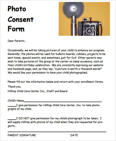 photo consent form for child care