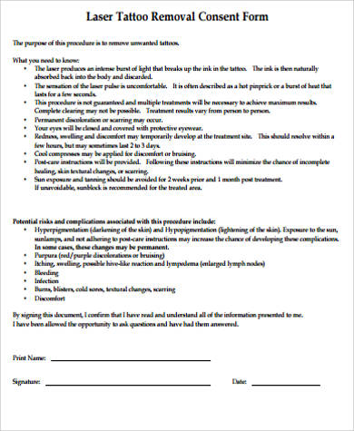 8 tattoo consent form samples sample templates for Tattoo release form template