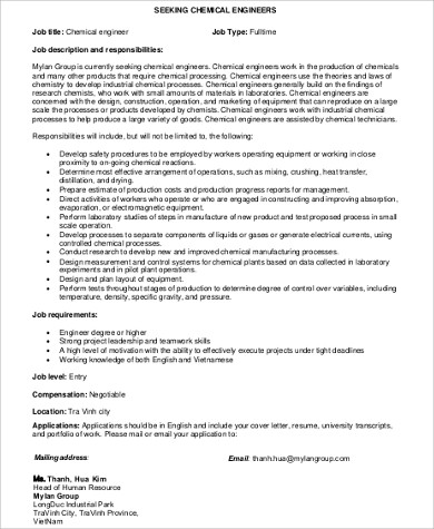 full time chemical engineering job description