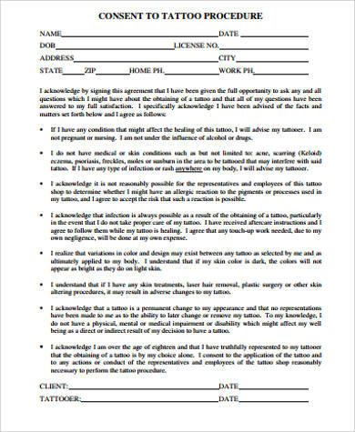 Tattoo Consent Form Sample - 8+ Examples In Word, Pdf