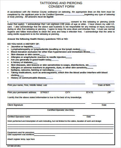 tattoo and piercing consent form