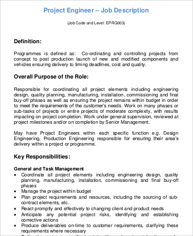 9+ Sample Engineer Job Description - Free Sample, Example, Format