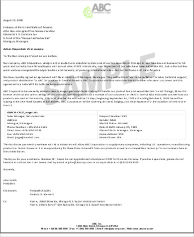 Company invitation letter for visa application
