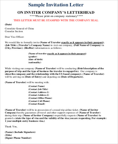 Sample invitation letter for visa 9 examples in word pdf formal invitation letter for visa stopboris Image collections