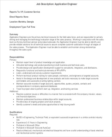 Application Engineer Job Description