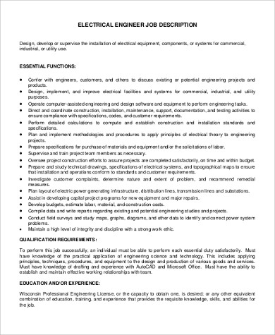 9+ Sample Engineer Job Description - Free Sample, Example, Format ...