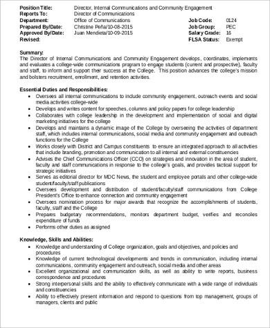 internal communications director job description