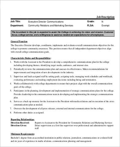 executive communications director job description