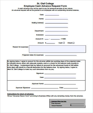 Employee Cash Advance Form Sample