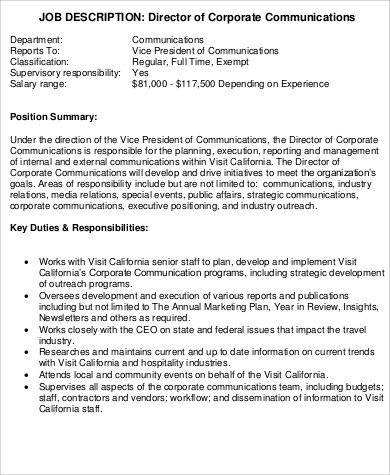 Communications Director Job Description Sample - 9+ Examples In
