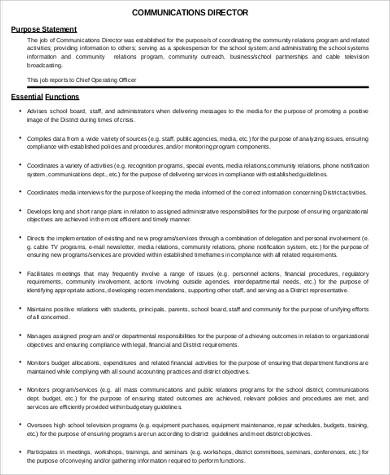 school communications director job description pdf