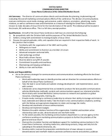 church communications director job description