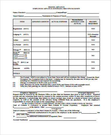 Sample Employee Advance Form   Examples In Word Pdf
