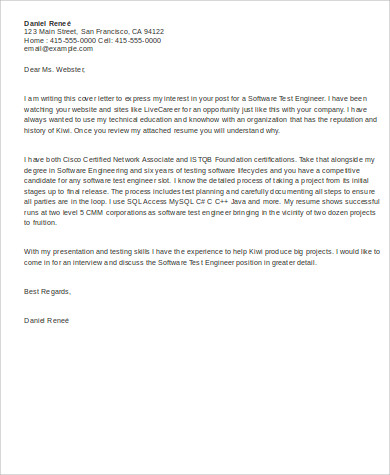 sample software engineer cover letter 8 examples in