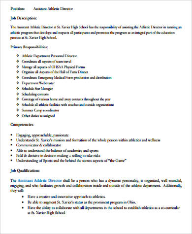 Athletic Director Job Description Sample - 9+ Examples In Word, Pdf