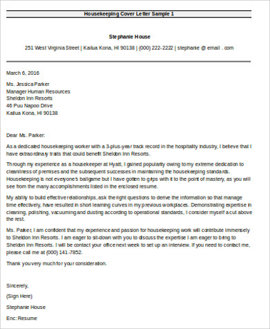 housekeeping cover letter sample housekeeping cover letter sample - Sample Housekeeper Cover Letter
