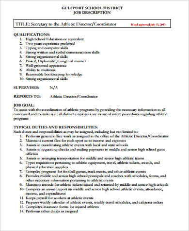 Athletic Director Job Description Sample   Examples In Word Pdf