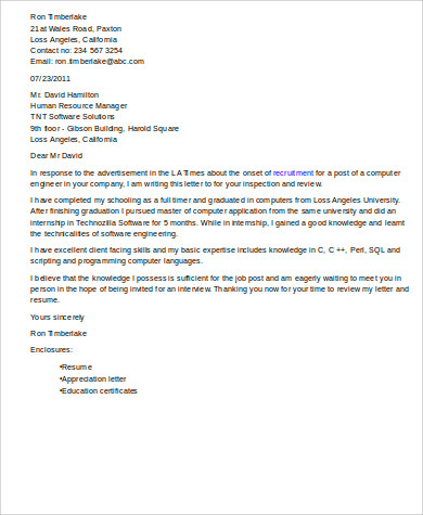 Free 10 Sample Software Engineer Cover Letter Templates