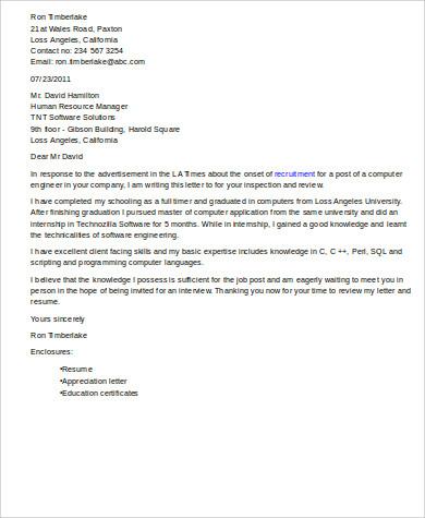 Cover Letter For Fresher Instrumentation Engineer