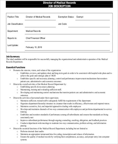 medical director job description sample 9 examples in word pdf