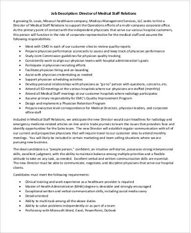 medical staff director job description pdf