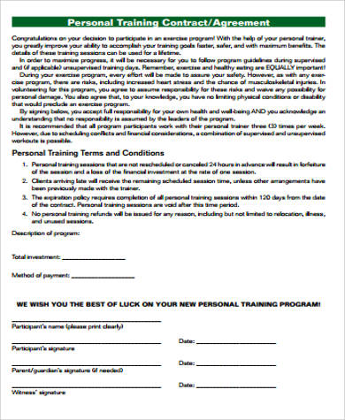 Printable Sample Personal Training Contract Template Form There