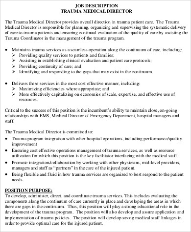 Medical Director Job Description Sample   Examples In Word Pdf