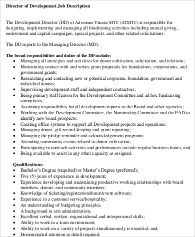 Director Of Development Job Description Sample   Examples In