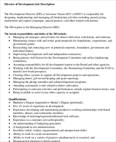 director of development job description