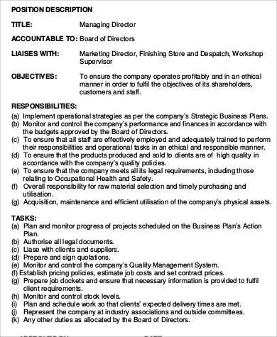 managing director job description sample 9 examples in word pdf - Practice Director Job Description
