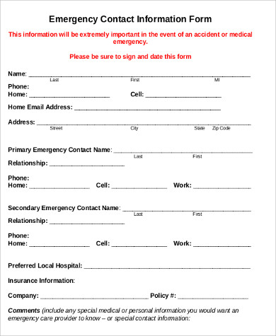 Sample Employee Emergency Contact Form   Examples In Word Pdf